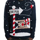 Mens Long Sleeve To The Pub Reindeer Design Knitted Christmas Jumper Sweater Top
