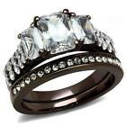 Stainless Steel Rectangle Emerald Cut CZ Wedding Brown Chocolate Coffee Ring Set