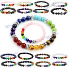 Mens Womens 7 Stone Chakra Healing Reiki Prayer Bead Bracelet 10 Style Gift HOT
