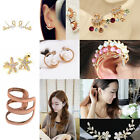 Stylish Lady Silver/Gold Plated Crystal Pearl Punk Ear Cuff Earring Ear Clip