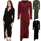 Ladies Long Sleeve V Neck Plunge Chain Lace Up Wrap Side Split Slit Maxi Dress