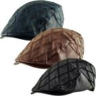 Faux Leather Cabbie Newsboy Country Golf Ivy Diagonal Quilt Check Flat Cap