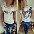 Women Lace Patchwork Wing Print Hollow out  Short Sleeve Crew Neck T-shirt Tops