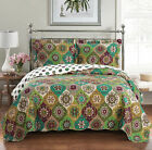 Luxury Bonnie Coverlet set, Wrinkle Free Printed Bedspread Set, Reversible Quilt image