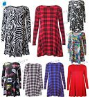 Womens Swing Dress Long Sleeve Printed Stretch Skater Flared lot 8-26 girl Party