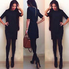 Women Sexy Fashion Dress Short Sleeve Slim Elegant Casual Chic Zip Mini Dress EW