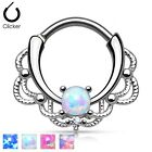 New Surgical Steel Lacey Septum Nose Clicker Hoop Ring with Opal Stone 16g