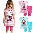 New Baby Girls 2PCS Cartoon Outfit Sets Top+short 6M to 4Years