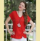 OH MY GAUZE  Cotton Side-Ruched  SWEET  Top  1 (M/L) 2 (L/XL) 3 (1X)  CRIMSON