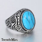 Elegant Black/Blue CZ Carved Swirl Silver Tone 316L Stainless Steel Mens Ring CZ
