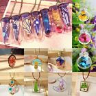 Natural Real Butterfly Flower Lucky Wish Glass Bottle Chain Pendant Necklace New