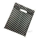 Black and Silver Striped Plastic Carrier Bags Jewellery Fashion Gift Boutique
