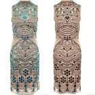 Womens Sleeveless Beaded Aztec Floral Cut Out Sequin Lined Shift Midi Dress