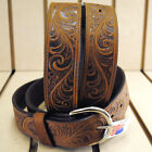 NEW BROWN SILVER CREEK CASUAL FORMAL WESTERN SCROLL TOOLED LEATHER MEN'S BELT