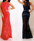 Lace Satin Party New Formal Hot Maxi Women Red Long Dress Cocktail Evening Party