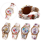 New Fashion Women Watch Flower Patterns Analog Leather Band Quartz Wrist Watches