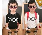 New Kids Toddlers Boys Boy Letter Knit Cotton Long Sleeves Tops Shirt 3-8 Y T462