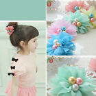 1X Chiffon Flower Hair Rope with Artificial Pearl Girls Headwear 5 Colors TBUK