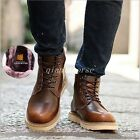 Retro Men's Ankle Boots Lace Up Flat Heel Casual Riding Snow Boots Warm Shoes Sz