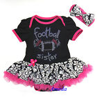 Baby Rhinestone Football Sister Pink Black Damask Tutu Romper Bodysuit Dress