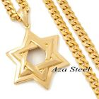 """MEN Large Gold Star of David Stainless Steel Pendant Curb Chain Necklace 18-36"""""""