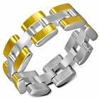 STAINLESS STEEL 2-TONE FLEXIBLE CHAIN LINK MENS RING CHOOSE SIZE