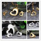 Fine Quality Women's Jewelry Set Gold/Silver Stainless Steel Heart Pendant Studs