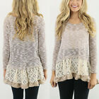 Fashion Womens Long Sleeve Knitwear Casual Lace Blouse Loose Cotton Tops T Shirt