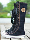 Hot Punk Womens Girl Shoes Sneaker Lace Up Zip Canvas Knee High Flat Tall Boots