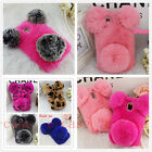 Panda Bear Bling Crystal Warm Soft Furry Rabbit Fur Washable Case For Cell Phone
