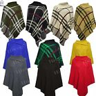 Womens Ladies Poncho PLAIN & print CHECK KNITTED CARDIGAN LOT TOP new