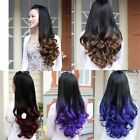 Black Mix Gradient Colors Half Wig Fashion Long Curly Wavy Hair Cosplay Girl Wig