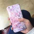 Fashion Pink Crystal Granite Marble Pattern Case Cover for iphone X 8 7 6S plus