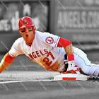 slides into photos - BJ591 Mike Trout Angels SlideS Into 3rd Base MLB 8x10 11x14 Spotlight Photo