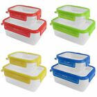 4PC Clear Plastic Food Storage School Lunch Box Containers Tub + Clip Lock Lid