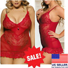 Deep Red Floral Lace Mini Dress Chemise Nightie Lingerie Babydoll Teddy M-7XL