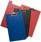 A5 Foldover Clip Board Clipboards & Pen Holder Strong Pvc Black Blue Red Writing