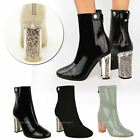 NEW LADIES WOMENS ANKLE BOOTS CLEAR PERSPEX BLOCK HIGH HEEL FASHION SHOES SIZE