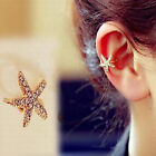 Women Personality Crystal Starfish Charm Clip on Cuff Earring Stud Jewelry Heart