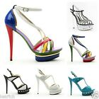Womens ladies high heel peep toe shoes platforms new stiletto party