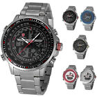 SHARK Fashion Mens Digital LCD Stainless Steel Wrist Watch+Band Adjuster Tool