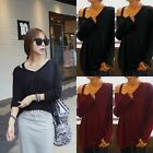 Women's Sexy V-Neck Loose Long Sleeve Cotton T Shirt Casual Blouse Top Plus Size