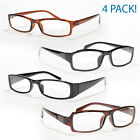 4 Pair Plastic Frame Reading Glasses Women Men Unisex Optic Reader Clear Lenses
