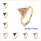 1Pcs Size 5.5~7 Triangle Natural Druzy Titanium Gold Plated Bezel Ring HZG060