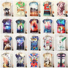 Womens Summer Short Sleeve Blouse Top Vintage Graphic Printed T-Shirt Casual Tee