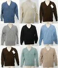 Men's Vintage 100% Shetland Wool V Neck Full Sleeve Pull Over Jumper  S-XL