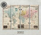 Large Vintage World Wall Map canvas art print on 4 panels, Ready to hang