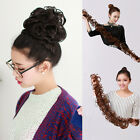 Womens Long Wavy Curly Weave Hair Bun Synthetic Ponytail Hair Extension 4 Colors
