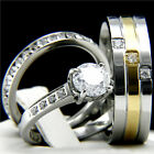 2.17 CT Clear CZ Womens Engagement Stainless Steel Mens Wedding Bridal Rings Set