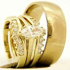 0.95 CT Marquise Solitaire Engagement Stainless Steel Wedding Bridal Rings Set